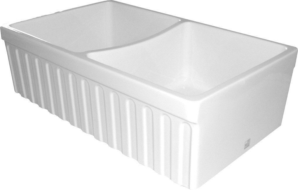 White Apron Sink : ... Inch Alcove Reversible Double Bowl Fireclay Sink w/ Fluted Front Apron