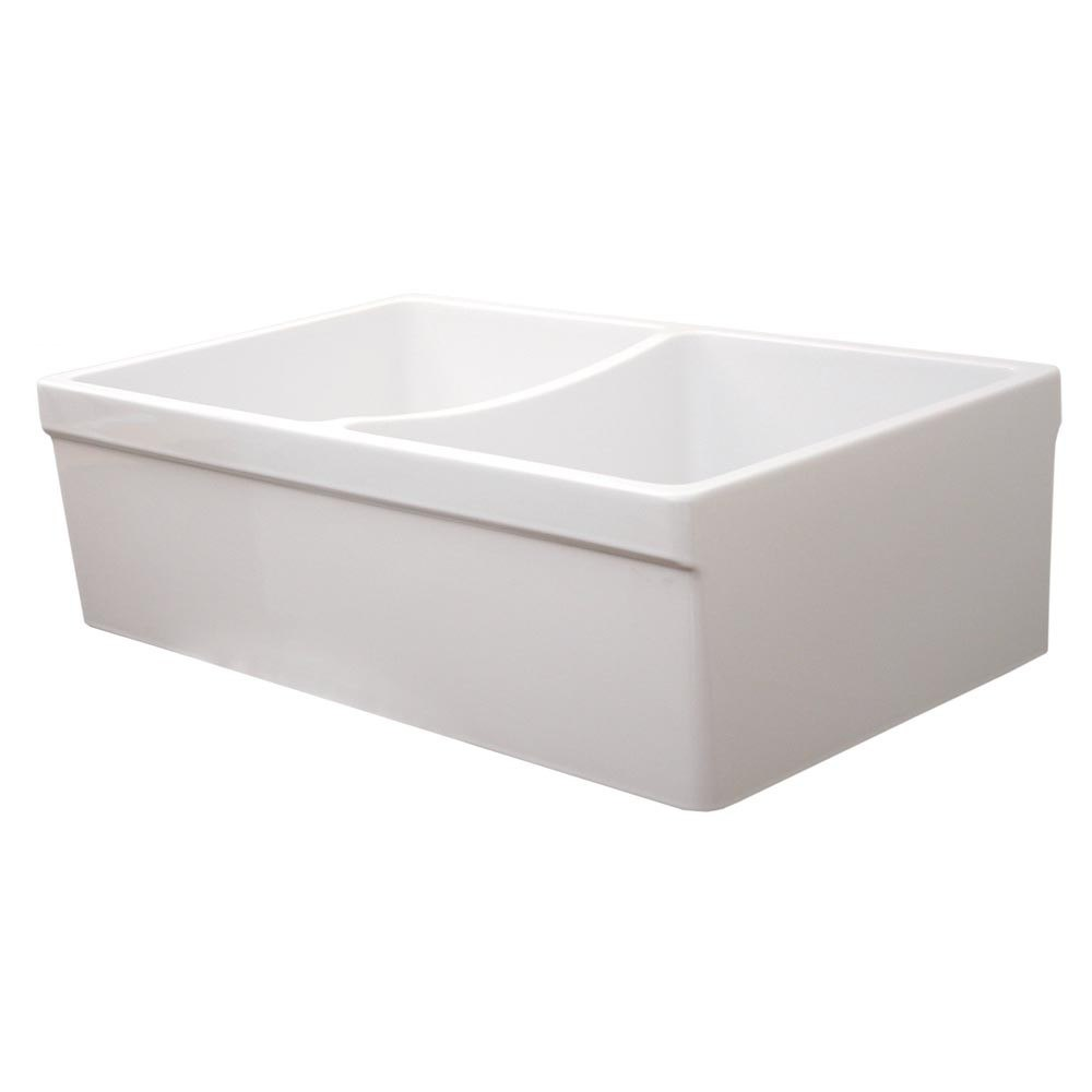 Fire Clay Sinks : ... WHQDB532 Quatro 33 Inch Alcove Reversible Double Bowl Fireclay Sink