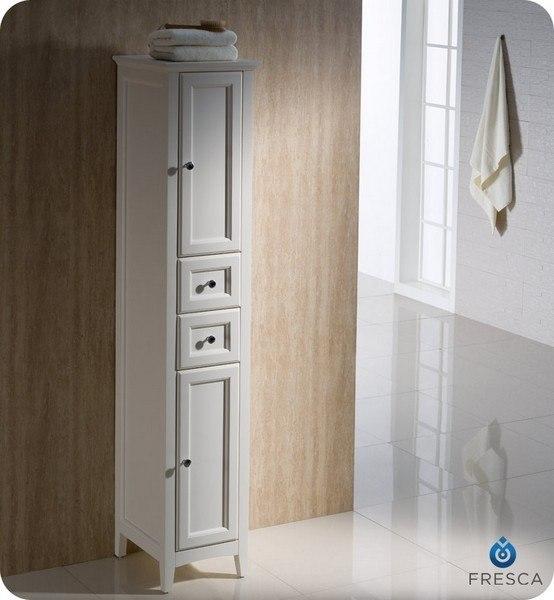 Fresca Fst2060aw Oxford Antique White Tall Bathroom Linen Cabinet Fresca Bathroom Linen Side