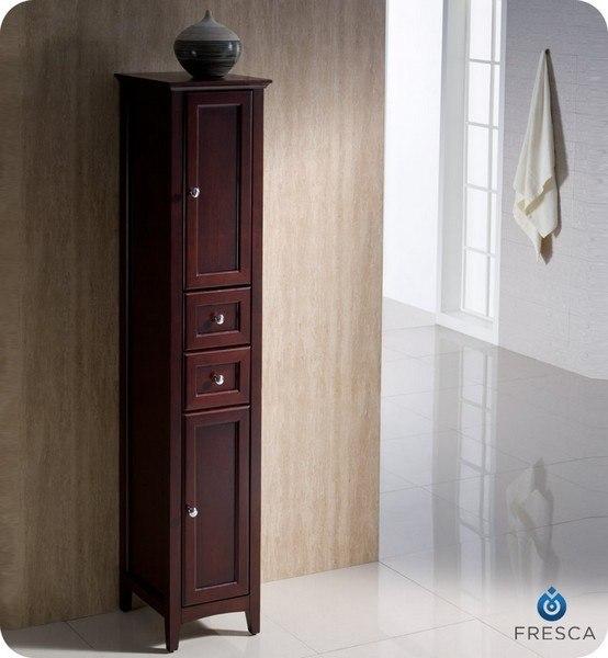 Fresca FST2060MH Oxford Mahogany Tall Bathroom Linen Cabinet, Fresca Bathroom Linen Side Cabinet