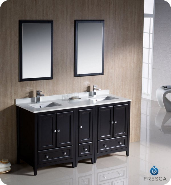 60 inch espresso traditional double sink bathroom vanity w side