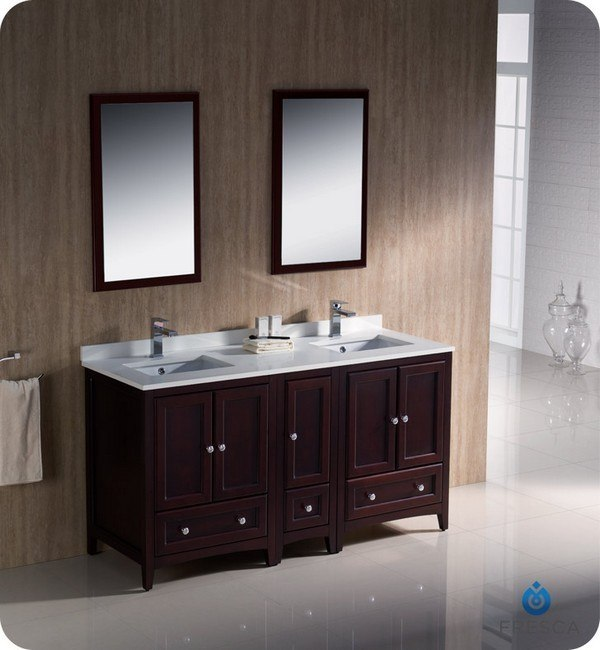 Fresca FVN20-241224MH Oxford 60 Inch Mahogany Traditional Double Sink Bathroom Vanity w/ Side Cabinet