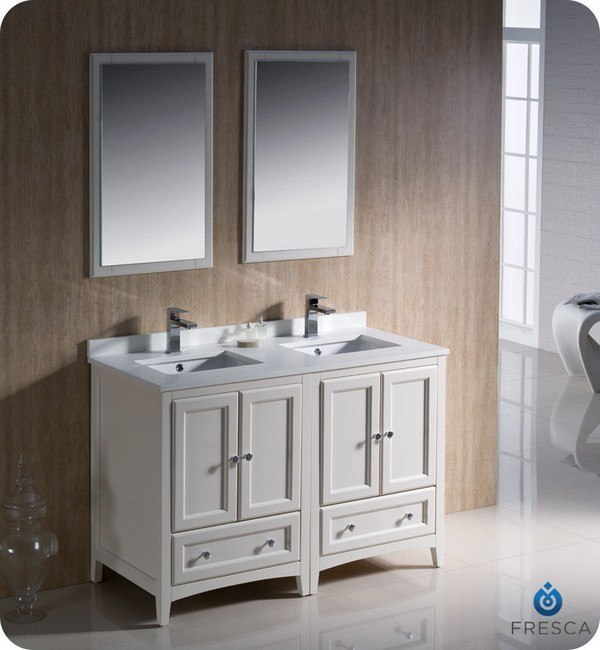 Fresca fvn20 2424aw oxford 48 inch antique white for Bathroom 48 inch vanity