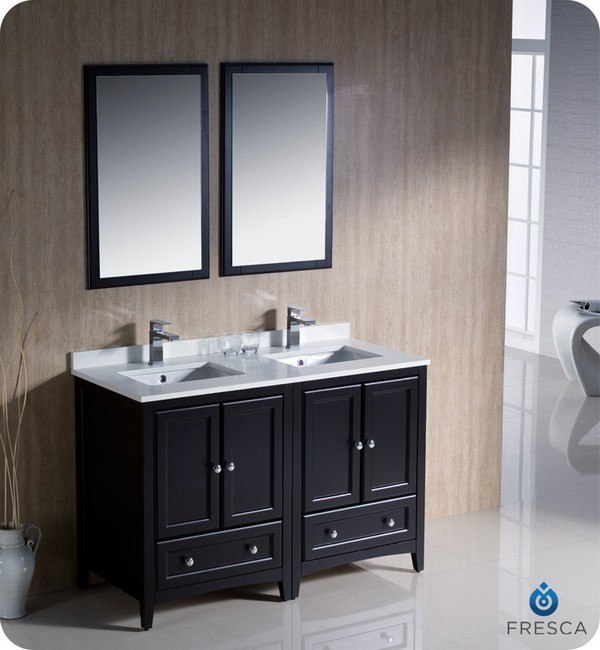 fresca fvn20 2424es oxford 48 inch espresso traditional double sink bathroom vanity fvn202424es. Black Bedroom Furniture Sets. Home Design Ideas