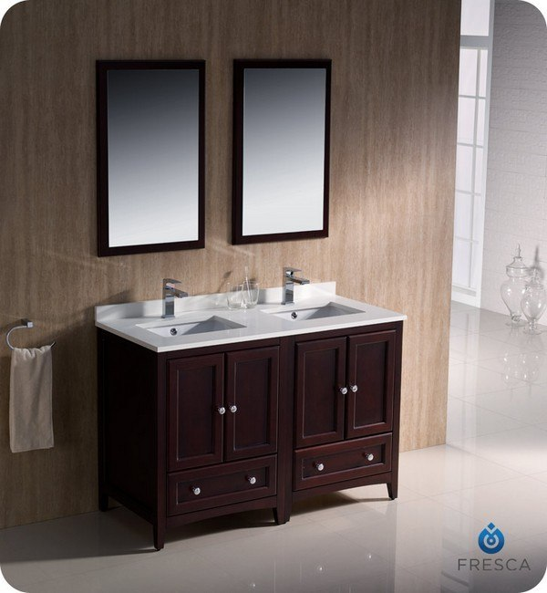 Fresca fvn20 2424mh oxford 48 inch mahogany traditional 48 inch bathroom vanity