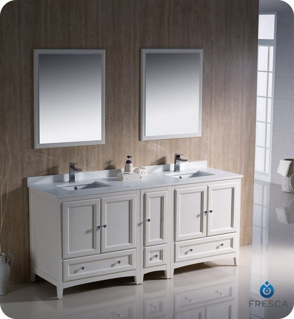 Fresca fvn20 301230aw oxford 72 inch antique white for Antique white double sink bathroom vanities