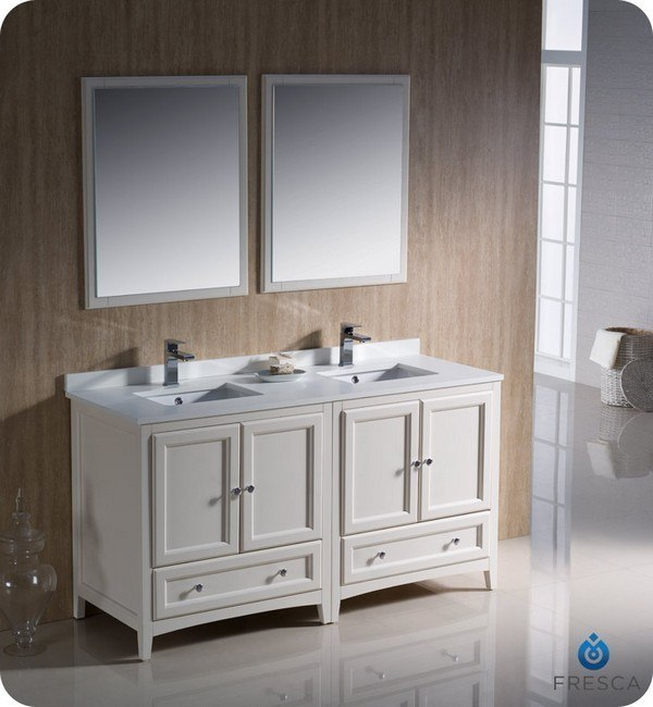 Fresca fvn20 3030aw oxford 60 inch antique white - Antique white double sink bathroom vanities ...