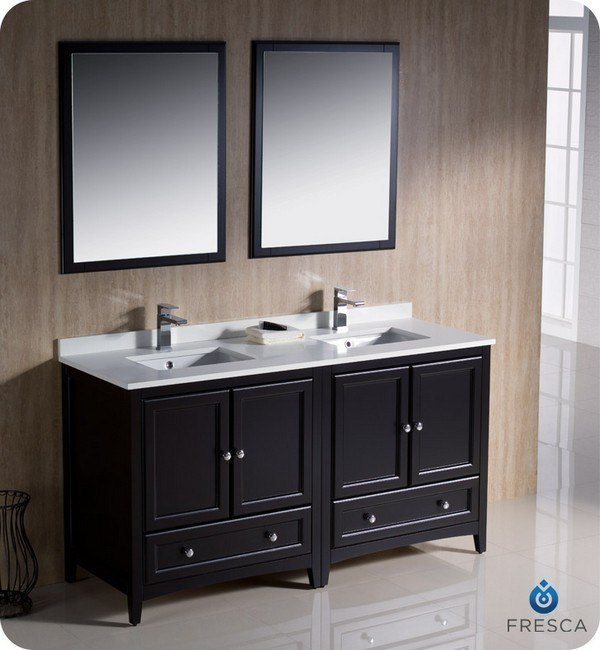 Fresca fvn20 3030es oxford 60 inch espresso traditional for Bathroom 60 inch double vanities