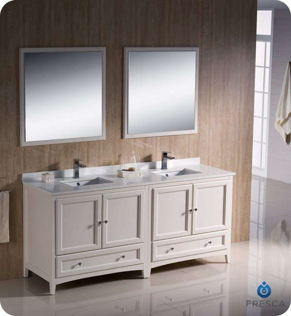Fresca fvn20 3636aw oxford 72 inch antique white - Antique white double sink bathroom vanities ...