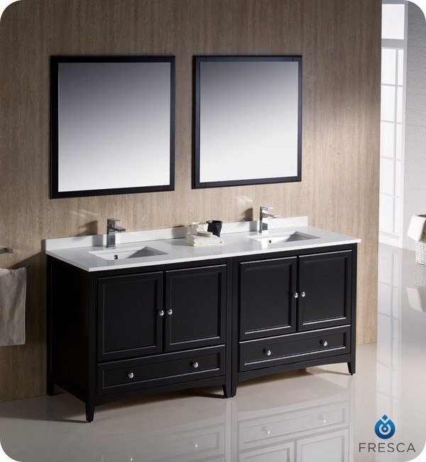 Fresca fvn20 3636es oxford 72 inch espresso traditional double sink bathroom vanity fvn203636es for 72 inch bathroom vanity double sink