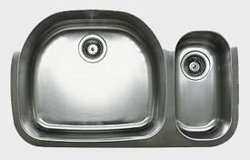 Ukinox D537.70.30.10L 32 Inch Undermount Double Bowl Sink 10 Inch Bowl Depth: Left Hand Side