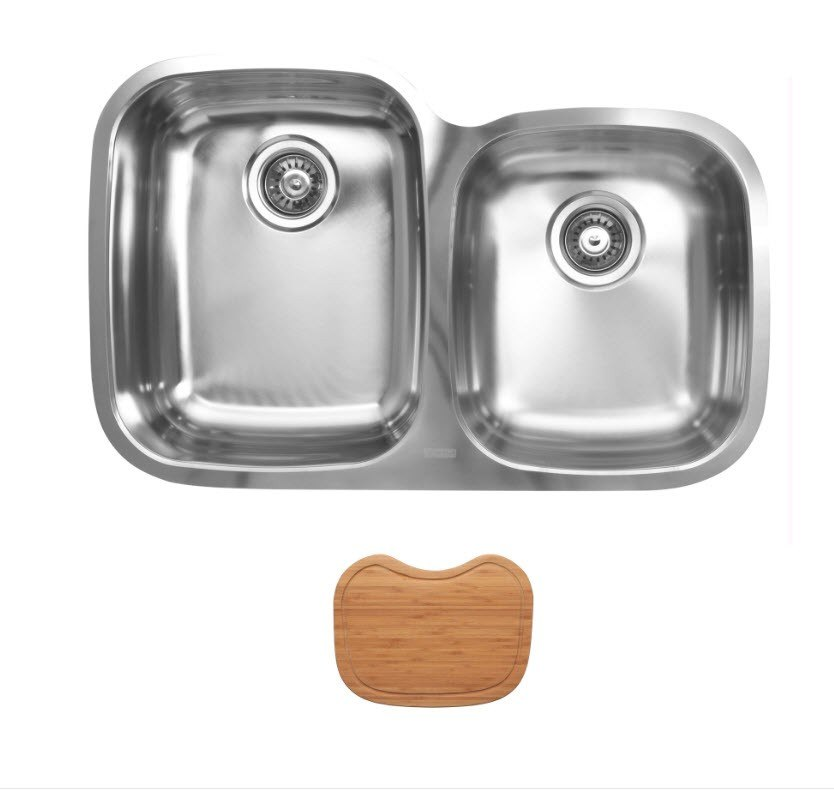 Ukinox D376.60.40.10L.C Undermount Double Bowl Stainless Steel Kitchen Sink With Cutting Boards