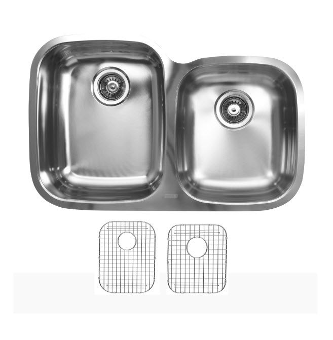 Ukinox D376.60.40.10L.G Undermount Double Bowl Stainless Steel Kitchen Sink With Bottom Grids