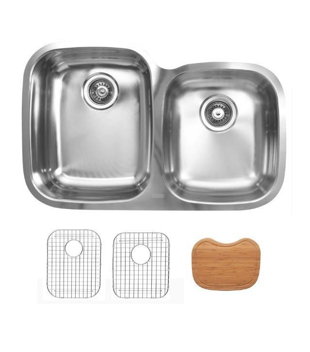 Ukinox D376.60.40.10L.GC Undermount Double Bowl Stainless Steel Kitchen Sink With Bottom Grids and Cutting Boards