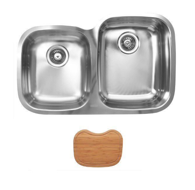 Ukinox D376.60.40.10R.C Undermount Double Bowl Stainless Steel Kitchen Sink With Cutting Boards