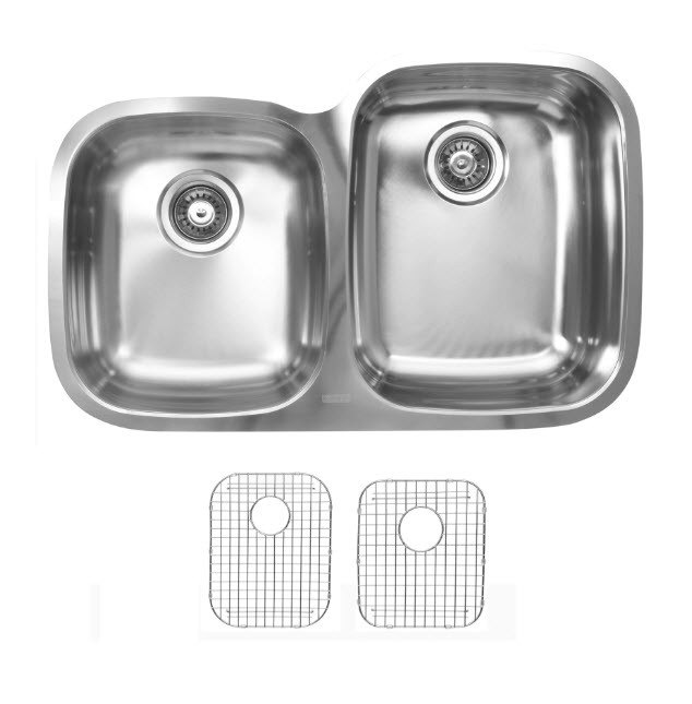 Ukinox D376.60.40.10R.G Undermount Double Bowl Stainless Steel Kitchen Sink With Bottom Grids