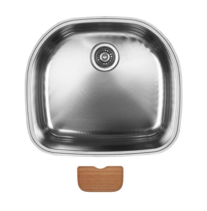 Ukinox D537.10.C Undermount Single Bowl Stainless Steel Kitchen Sink With Cutting Board