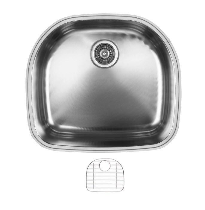 Ukinox D537.10.G Undermount Single Bowl Stainless Steel Kitchen Sink With Bottom Grid