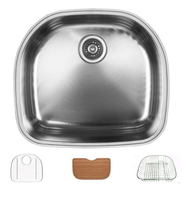 Ukinox D537.10.GCRB Undermount Single Bowl Stainless Steel Kitchen Sink With Bottom Grid, Cutting Board, and Rinsing Basket