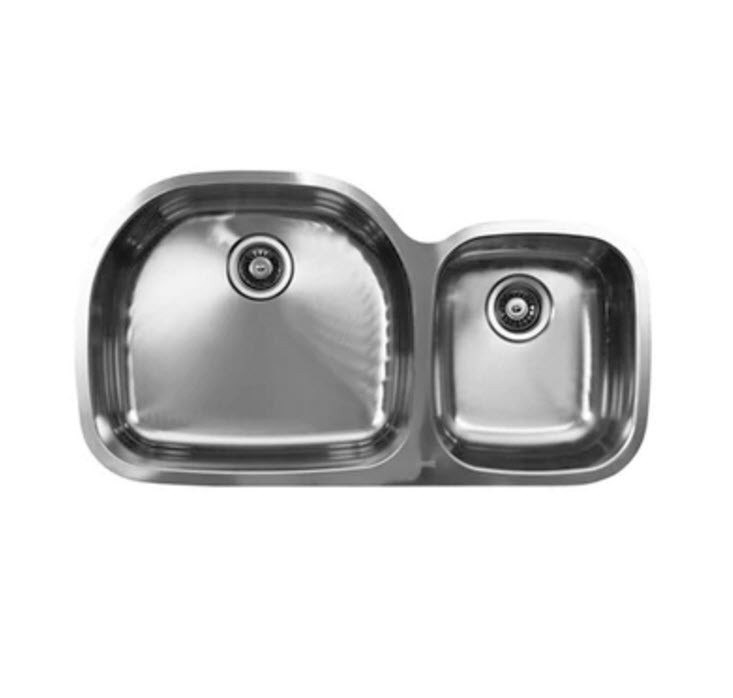 Ukinox D537.60.40.10L 37 Inch Undermount Double Bowl Sink 10 Inch Bowl Depth: Left Hand Side
