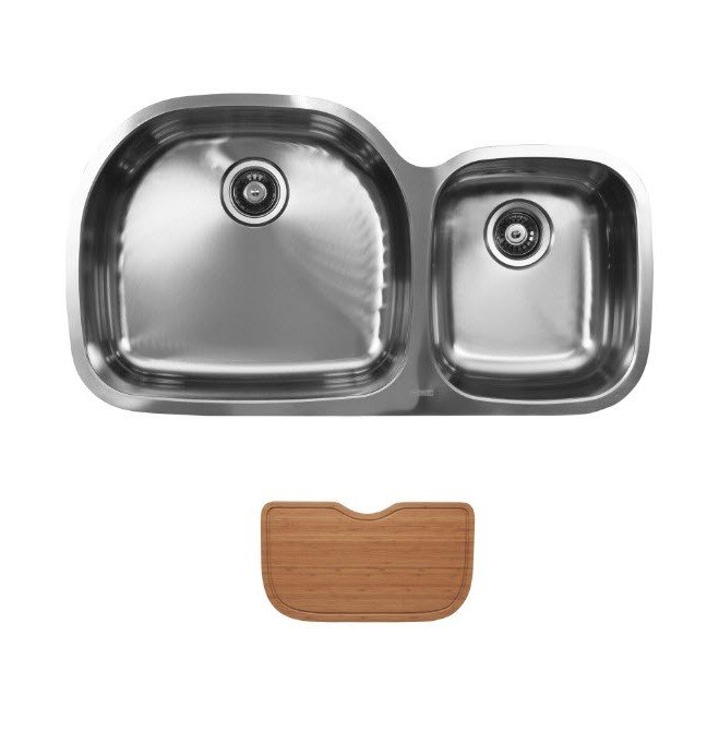 Ukinox D537.60.40.10L.C Undermount Double Bowl Stainless Steel Kitchen Sink With Cutting Boards
