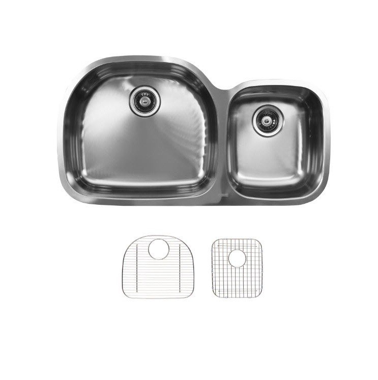 Ukinox D537.60.40.10L.G Undermount Double Bowl Stainless Steel Kitchen Sink With Bottom Grids