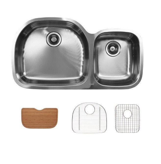 Ukinox D537.60.40.10L.GC Undermount Double Bowl Stainless Steel Kitchen Sink With Bottom Grids and Cutting Boards