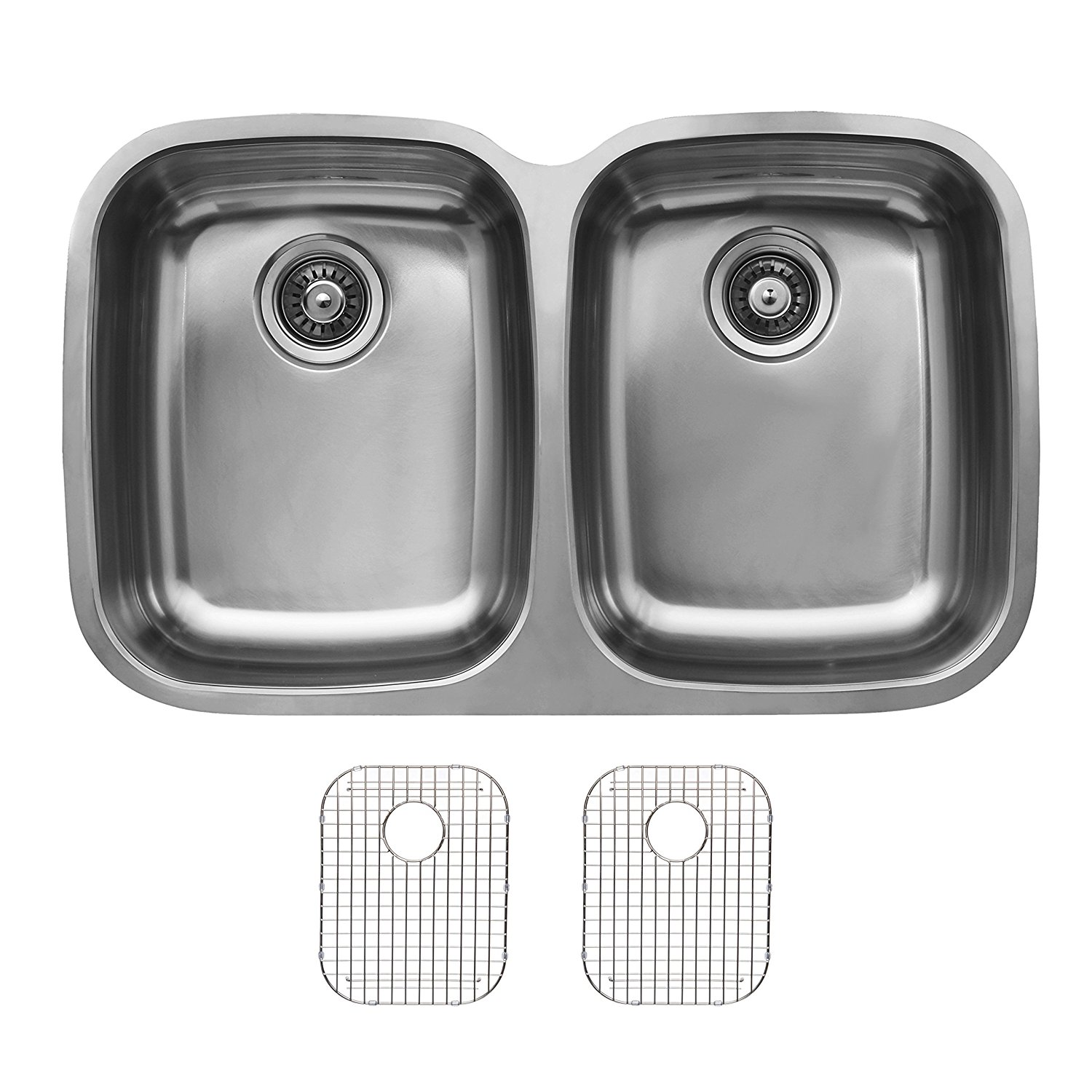 Ukinox D376.50.50.10G Undermount Double Bowl Stainless Steel Kitchen Sink With Bottom Grids