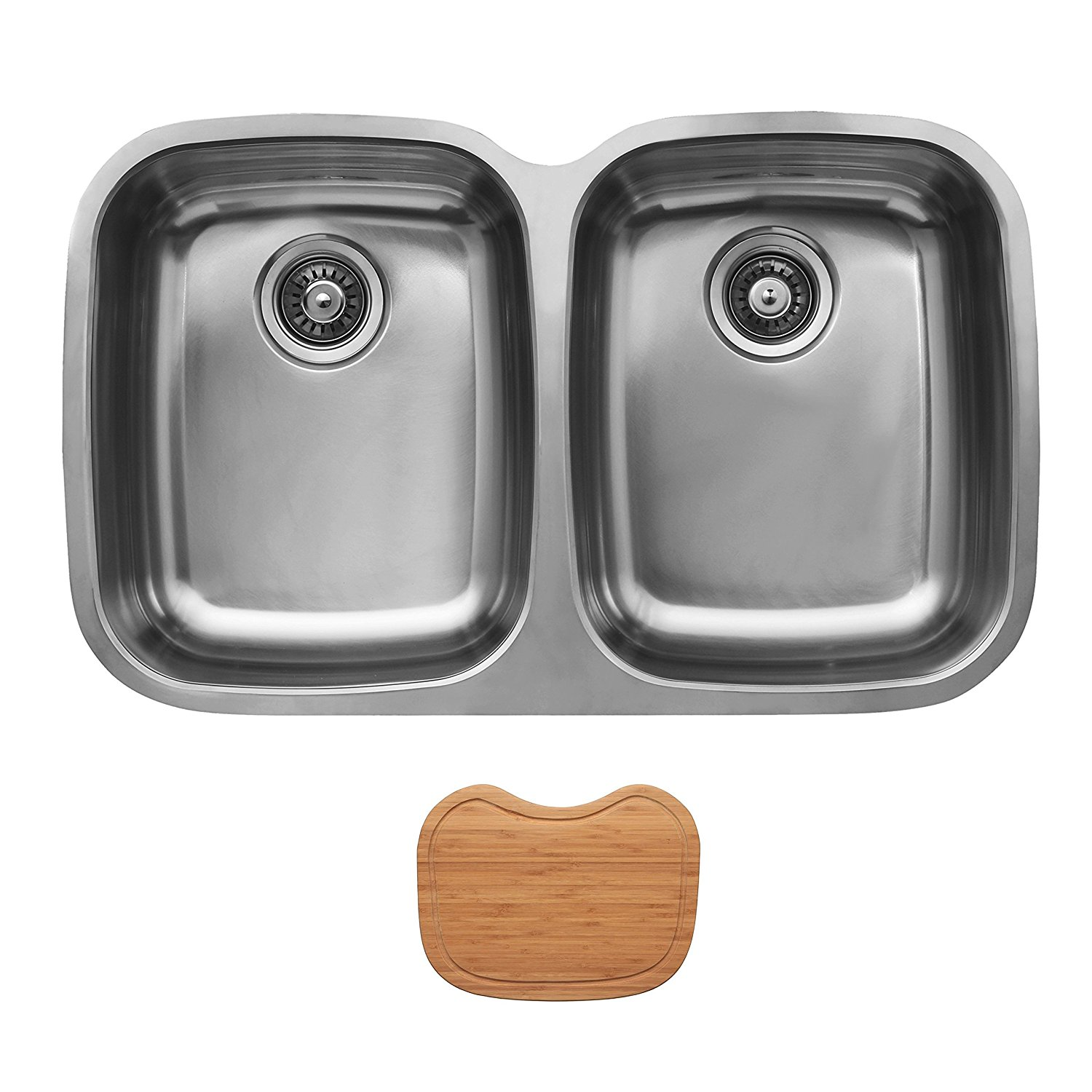 Ukinox D376.50.50.10.C Undermount Double Bowl Stainless Steel Kitchen Sink With Cutting Board
