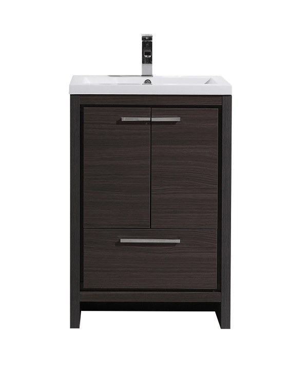 Moreno bath md624wb mod 24 inch dark gray oak free standing modern bathroom vanity with 2 doors for Freestanding 24 inch bathroom vanity