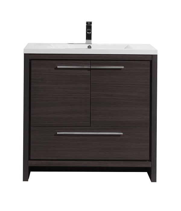 moreno bath md636wb mod 36 inch dark gray oak free standing modern bathroom vanity with 2 doors. Black Bedroom Furniture Sets. Home Design Ideas