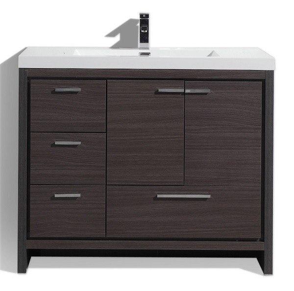 Moreno Bath Md642lwb Mod 42 Inch Dark Gray Oak Modern Bathroom Vanity With Left Side Drawers