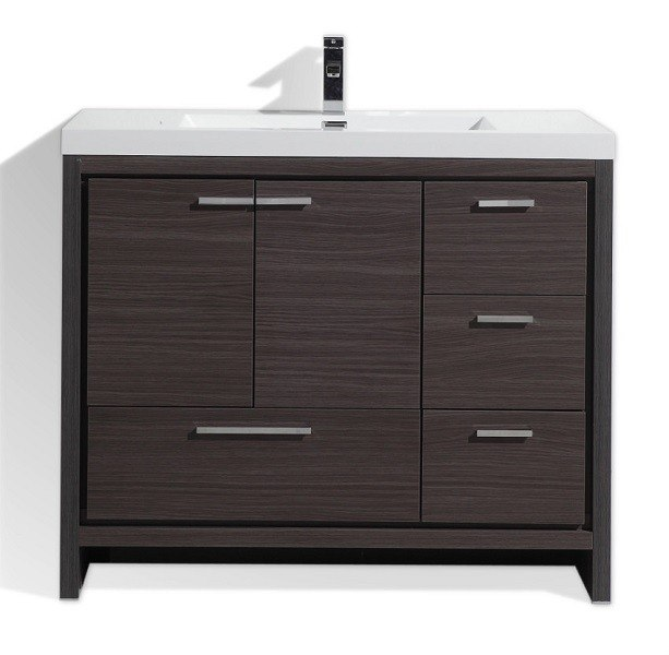 Moreno bath md642rwb mod 42 inch dark gray oak modern bathroom vanity with right side drawers for 42 inch vanities for bathrooms