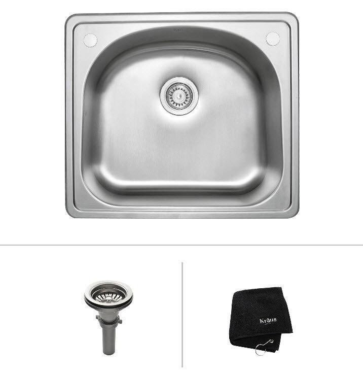 Kraus KTM24 25 Inch Topmount Single Bowl 16 Gauge Stainless Steel Sink