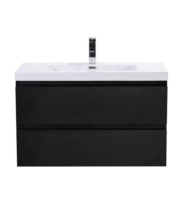 Moreno Bath Mob36 Rb Mod 36 Inch Black Wall Mounted Modern Bathroom Vanity With Reinforced