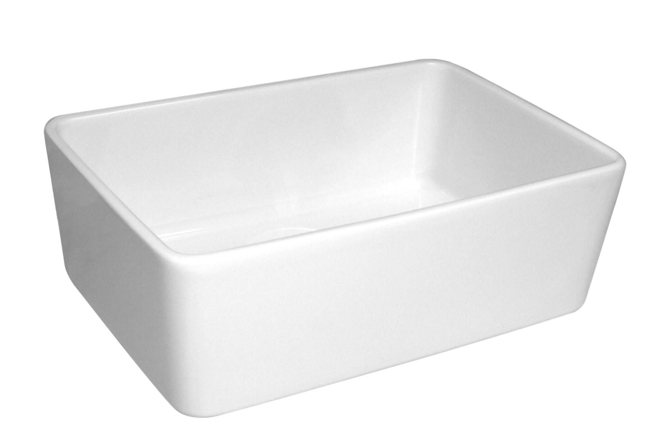 ... Basichaus 23.5 Inch Single Bowl Fireclay Sink w/ a Smooth Front Apron
