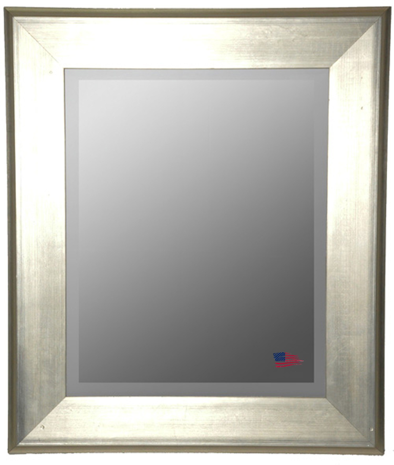 Rayne Mirrors R004M 30.5 x 36.5 Inch Brushed Silver Wall Mirror