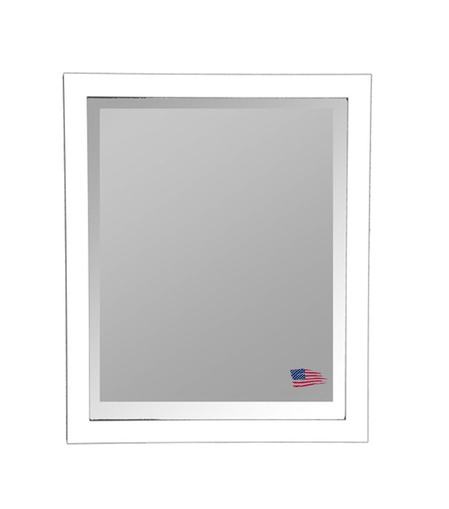 Rayne Mirrors R021MV 33.5 x 33.5 Inch Glossy White Wall Mirror