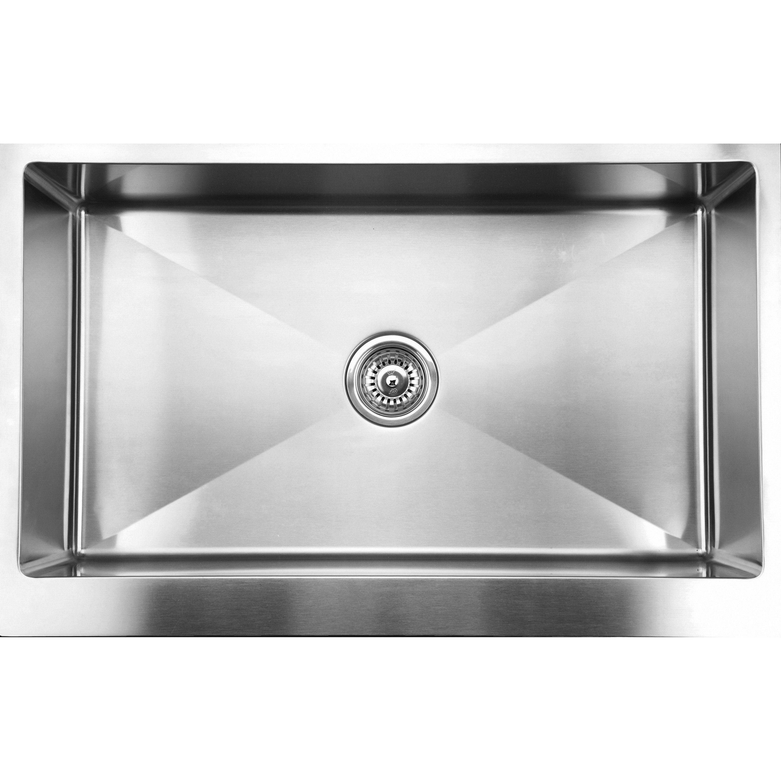 Ukinox RSFS840 Apron Front 33 Inch Single Basin Stainless Steel Undermount Kitchen Sink