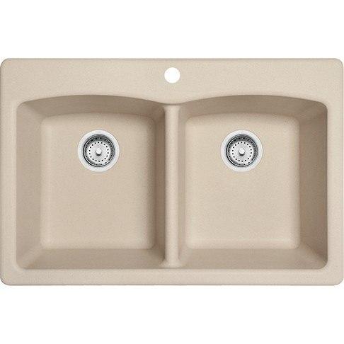 Franke EDCH33229-1 Ellipse 33 Inch Dual Mount Double Bowl Granite Kitchen Sink in Champagne