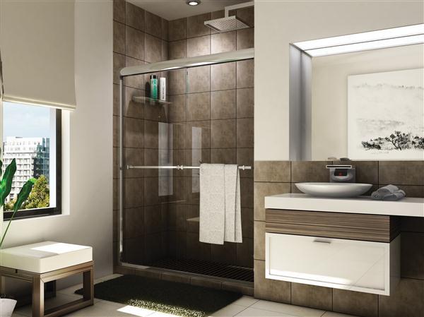 Fleurco E2-548 Banyo 44 - 48 Inch Verona Shower Semi-Frameless In-Line Sliding Shower Doors - 10-mm Clear Glass