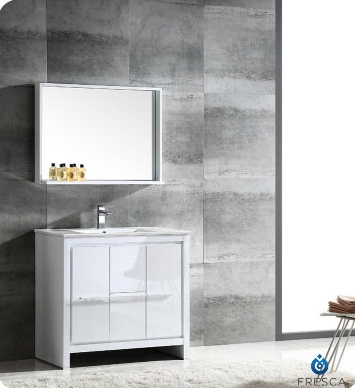 Fresca FVN8136WH Allier 36 Inch White Modern Bathroom Vanity w/ Mirror
