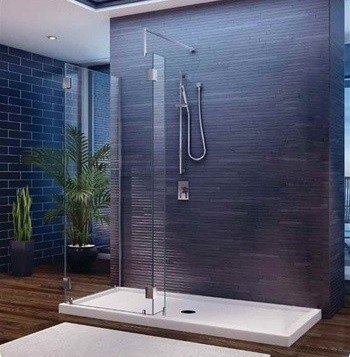 Fleurco V56307 Evolution 5 Feet Walk-In 3-Sided Shower System without Shield