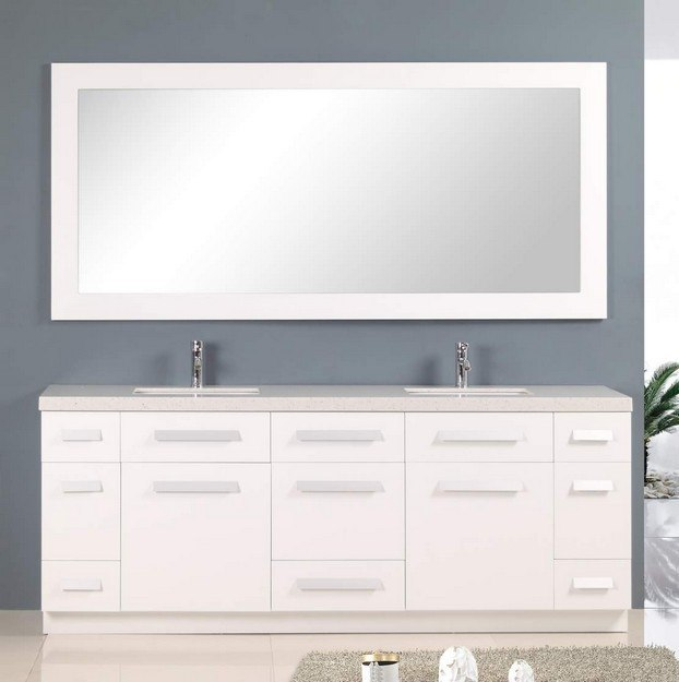 Design element j84 ds w moscony 84 inch double sink vanity set in white j84dsw j84ds w 84 inch double sink bathroom vanity