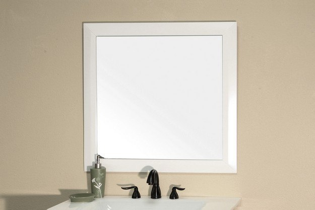 Bellaterra home 203054 mirror wh solid wood frame mirror - White wood framed bathroom mirrors ...