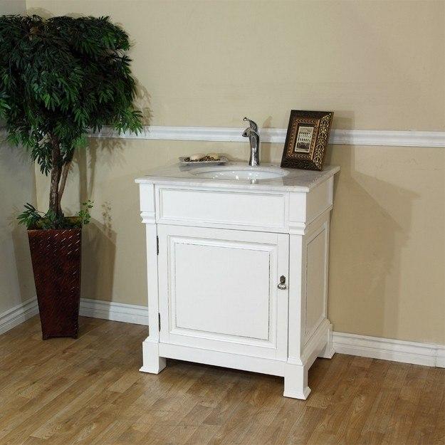 Bellaterra home 205030 wh 30 inch single sink vanity wood - 30 inch white bathroom vanity with sink ...