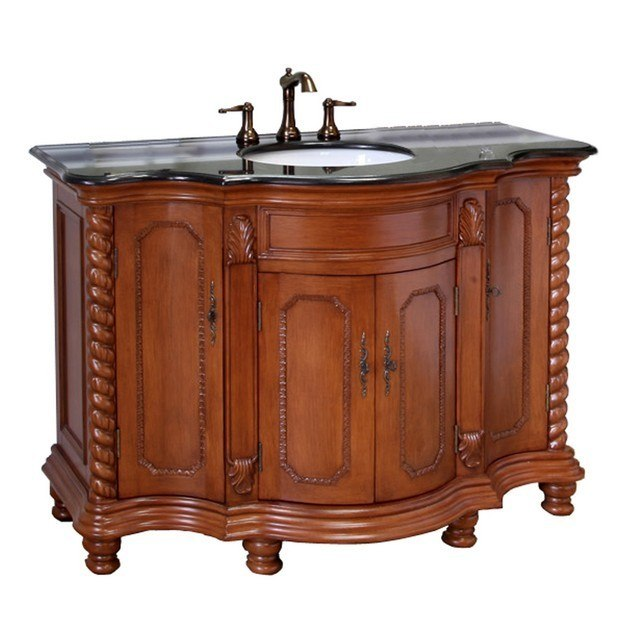 Bellaterra home 600161 lw bg 48 inch single sink vanity wood light walnut 600161lwbg for 48 inch bathroom vanity light