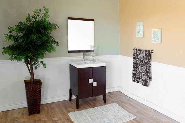 BellaTerra Home 804366 25 Inch Single Sink Vanity-Wood-Walnut