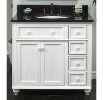Sagehill designs cr3621d white bayside cottage retreat 36 inch bathroom vanity cabinet for Cottage vanities for bathroom