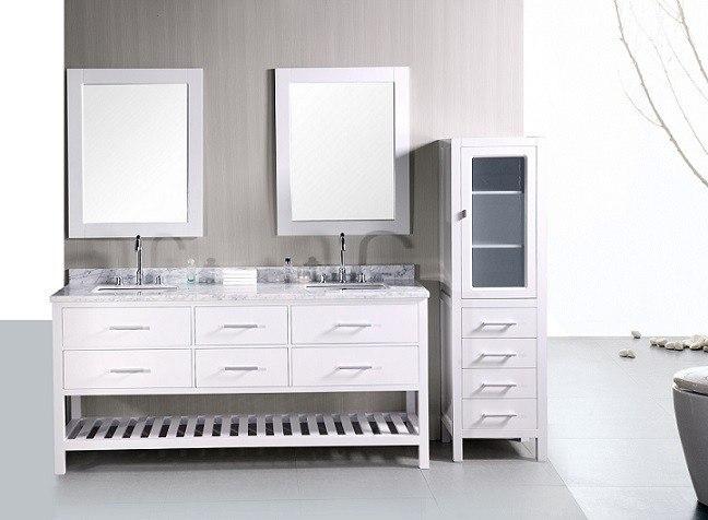 Design Element DEC077B-W London 72 Inch Double Sink Vanity Set in White